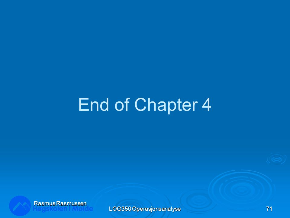 LOG350 Operasjonsanalyse71 Rasmus Rasmussen End of Chapter 4