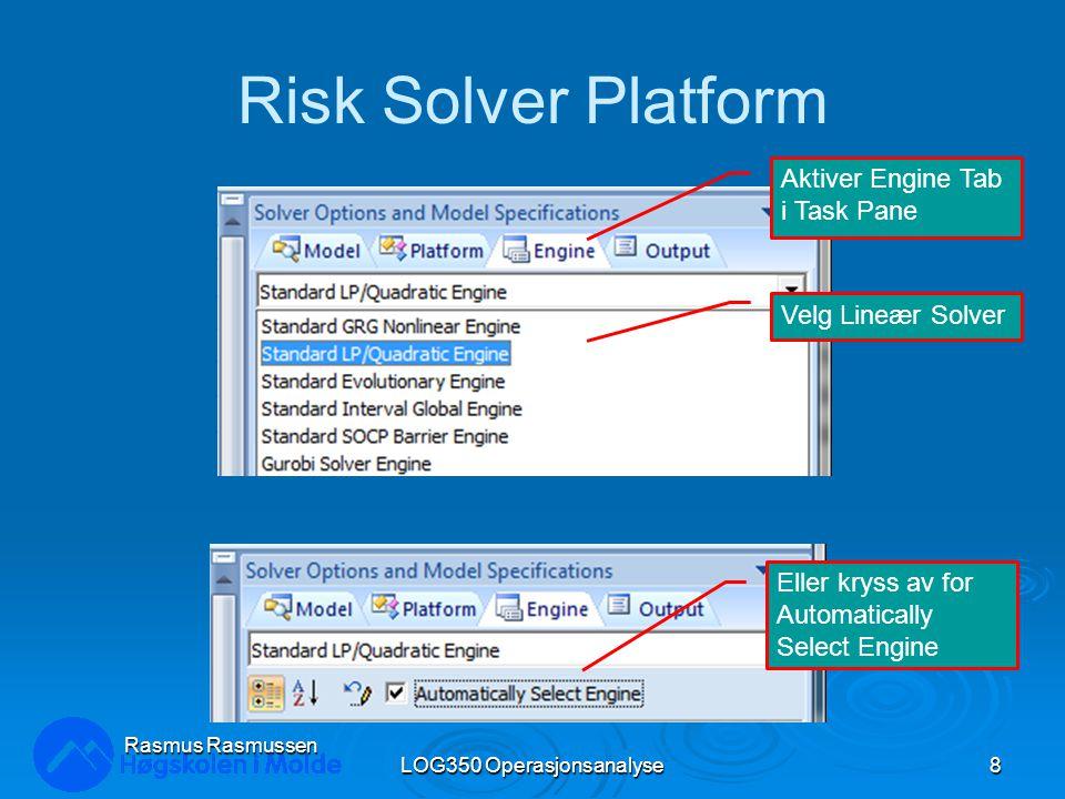 Risk Solver Platform LOG350 Operasjonsanalyse8 Rasmus Rasmussen Aktiver Engine Tab i Task Pane Velg Lineær Solver Eller kryss av for Automatically Select Engine