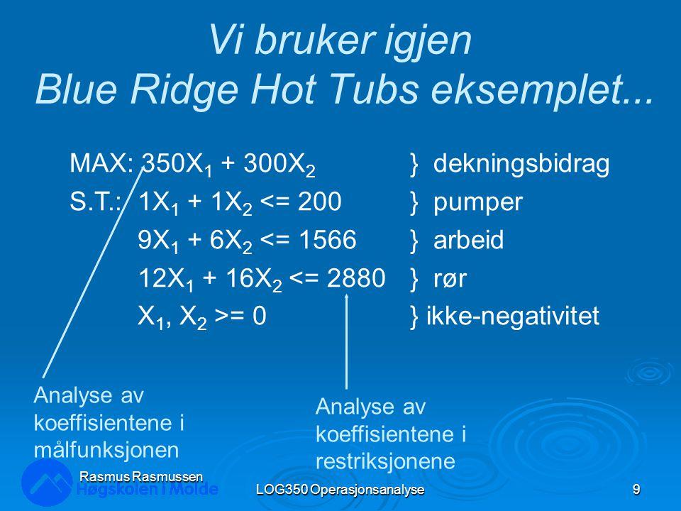 LOG350 Operasjonsanalyse9 Rasmus Rasmussen Vi bruker igjen Blue Ridge Hot Tubs eksemplet...