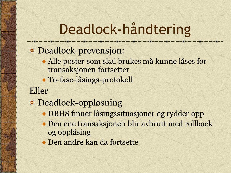 Deadlock-håndtering Deadlock-prevensjon: Alle poster som skal brukes må kunne låses før transaksjonen fortsetter To-fase-låsings-protokoll Eller Deadlock-oppløsning DBHS finner låsingssituasjoner og rydder opp Den ene transaksjonen blir avbrutt med rollback og opplåsing Den andre kan da fortsette