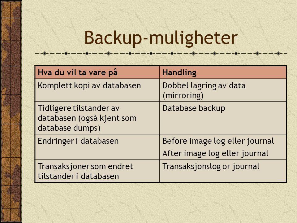 Backup-muligheter Hva du vil ta vare påHandling Komplett kopi av databasenDobbel lagring av data (mirroring) Tidligere tilstander av databasen (også k