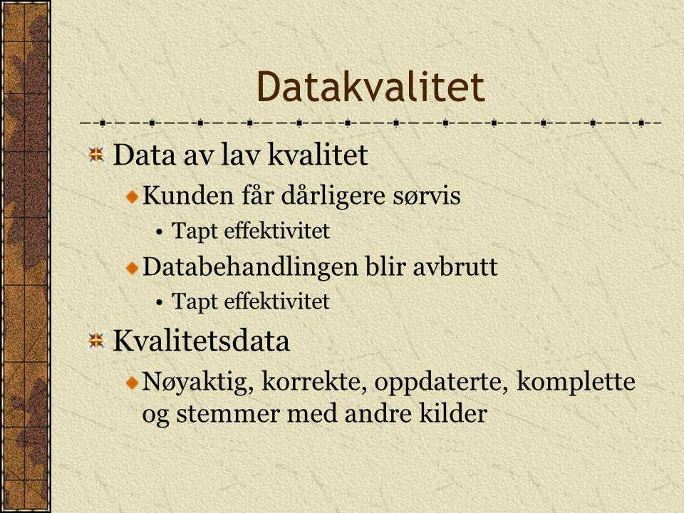 Datakvalitet Data av lav kvalitet Kunden får dårligere sørvis Tapt effektivitet Databehandlingen blir avbrutt Tapt effektivitet Kvalitetsdata Nøyaktig, korrekte, oppdaterte, komplette og stemmer med andre kilder