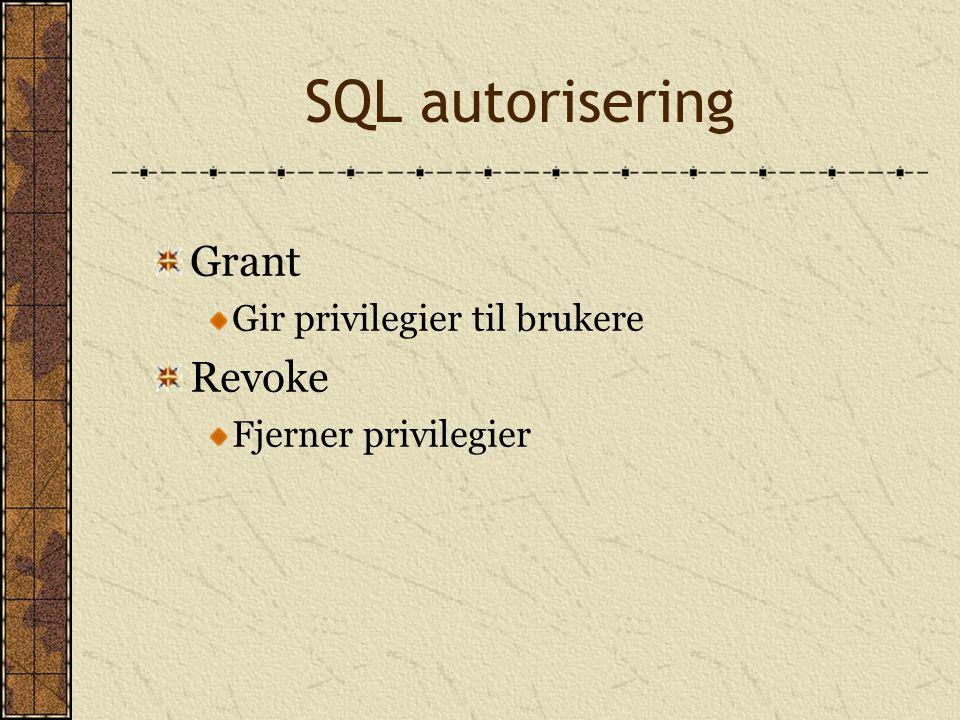 SQL autorisering Grant Gir privilegier til brukere Revoke Fjerner privilegier