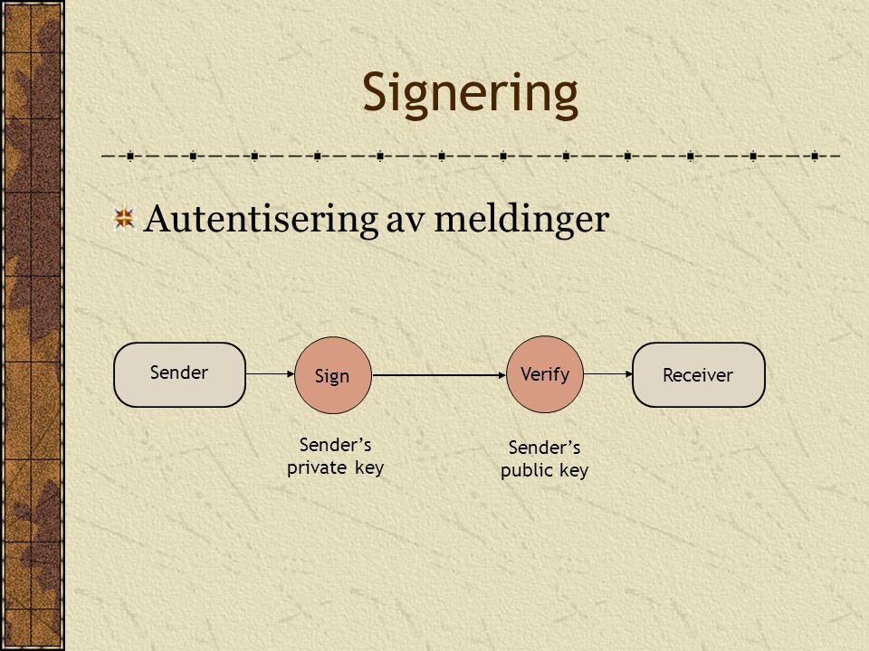 Signering Autentisering av meldinger Verify Sign Sender's private key Sender's public key Sender Receiver