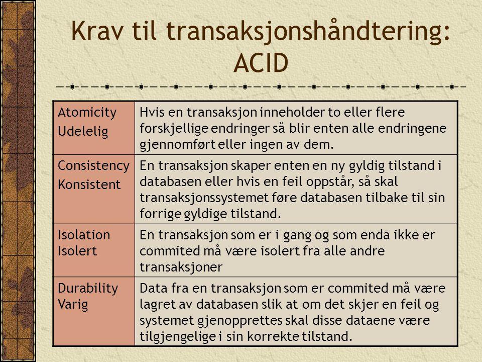 Krav til transaksjonshåndtering: ACID Atomicity Udelelig Hvis en transaksjon inneholder to eller flere forskjellige endringer så blir enten alle endringene gjennomført eller ingen av dem.