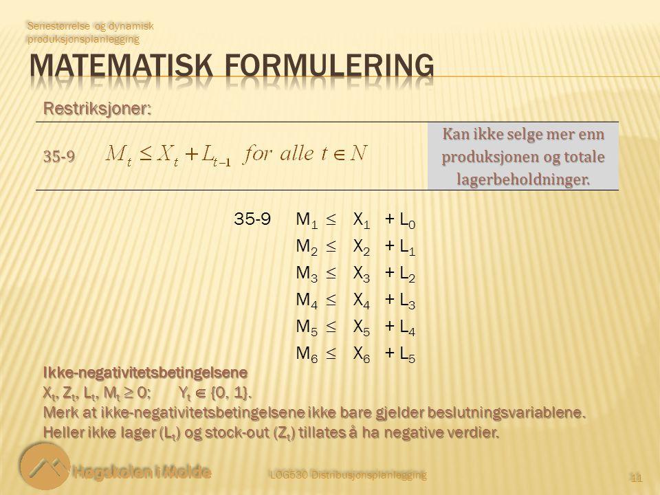 LOG530 Distribusjonsplanlegging 11 Restriksjoner: Seriestørrelse og dynamisk produksjonsplanlegging Ikke-negativitetsbetingelsene X t, Z t, L t, M t ≥