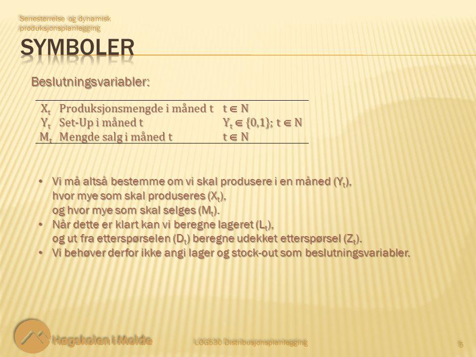 LOG530 Distribusjonsplanlegging 5 5 Seriestørrelse og dynamisk produksjonsplanlegging Beslutningsvariabler: Vi må altså bestemme om vi skal produsere