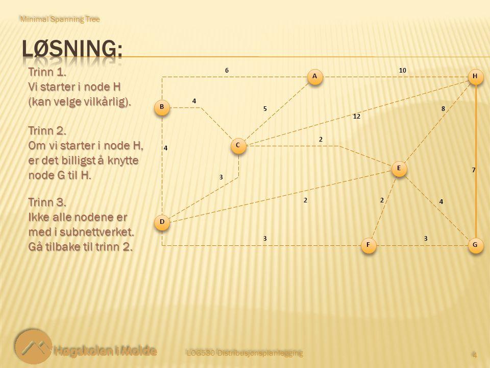 LOG530 Distribusjonsplanlegging 4 4 Trinn 1. Vi starter i node H (kan velge vilkårlig). Minimal Spanning Tree Trinn 2. Om vi starter i node H, er det