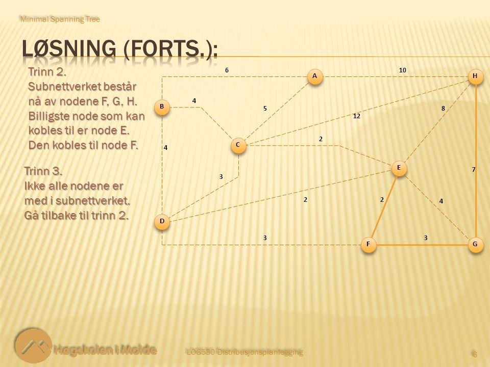 LOG530 Distribusjonsplanlegging 6 6 Trinn 2. Subnettverket består nå av nodene F, G, H. Billigste node som kan kobles til er node E. Den kobles til no