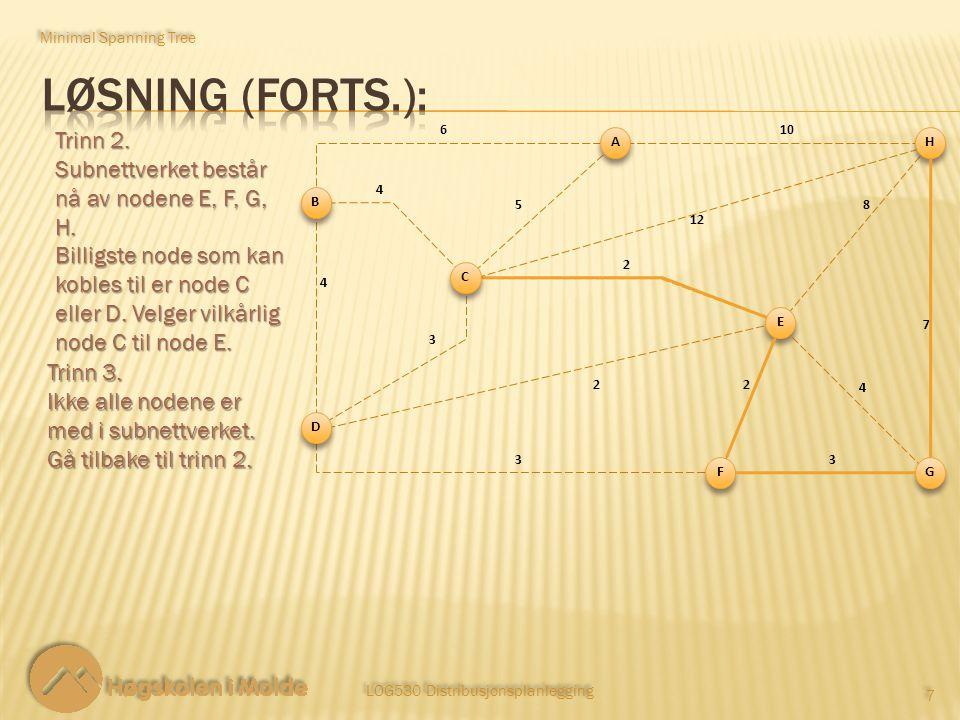 LOG530 Distribusjonsplanlegging 7 7 Trinn 2. Subnettverket består nå av nodene E, F, G, H. Billigste node som kan kobles til er node C eller D. Velger