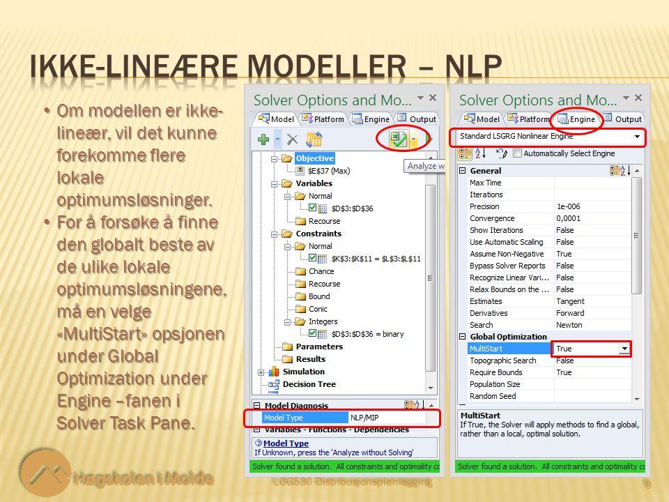 LOG530 Distribusjonsplanlegging 9 9 Om modellen er ikke- lineær, vil det kunne forekomme flere lokale optimumsløsninger.