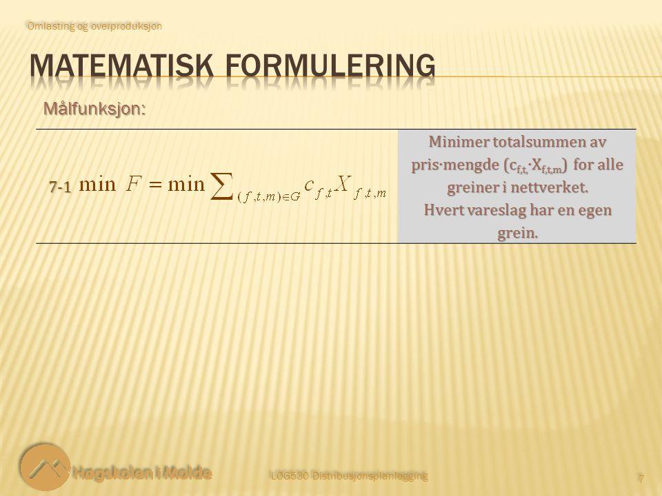 LOG530 Distribusjonsplanlegging 7 7 Målfunksjon: Omlasting og overproduksjon 7-1 Minimer totalsummen av pris∙mengde (c f,t, ∙X f,t,m ) for alle greiner i nettverket.