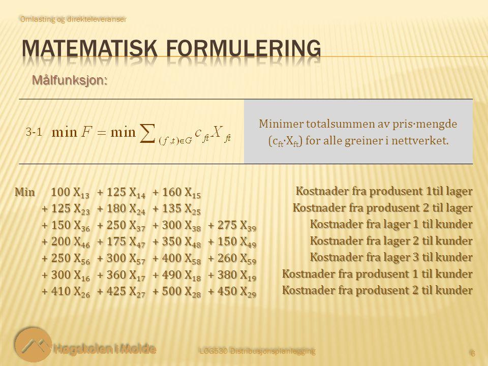 LOG530 Distribusjonsplanlegging 6 6 Målfunksjon: 3‑13‑1 Minimer totalsummen av pris∙mengde (c ft ∙X ft ) for alle greiner i nettverket.