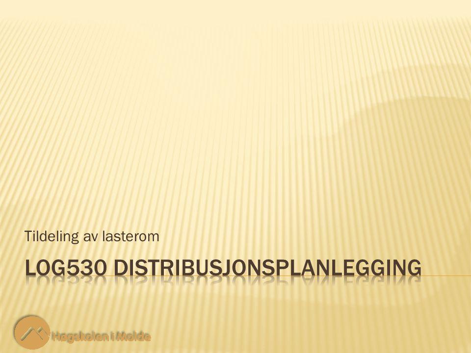 LOG530 Distribusjonsplanlegging 12 Restriksjoner: Tildeling av lasterom X 1F + X 1S + X 1B  4.800Vare 1 X 2F + X 2S + X 2B  2.500Vare 2 X 3F + X 3S + X 3B  1.200Vare 3 X 4F + X 4S + X 4B  1.700Vare 4 30 ‑ 6 Vi kan ikke utføre mer av hvert oppdrag enn det som er etterspurt.