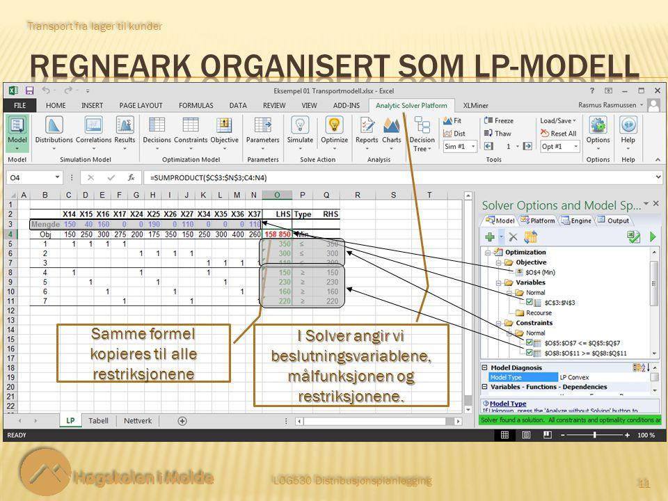 Transport fra lager til kunder LOG530 Distribusjonsplanlegging 11 Samme formel kopieres til alle restriksjonene I Solver angir vi beslutningsvariablen