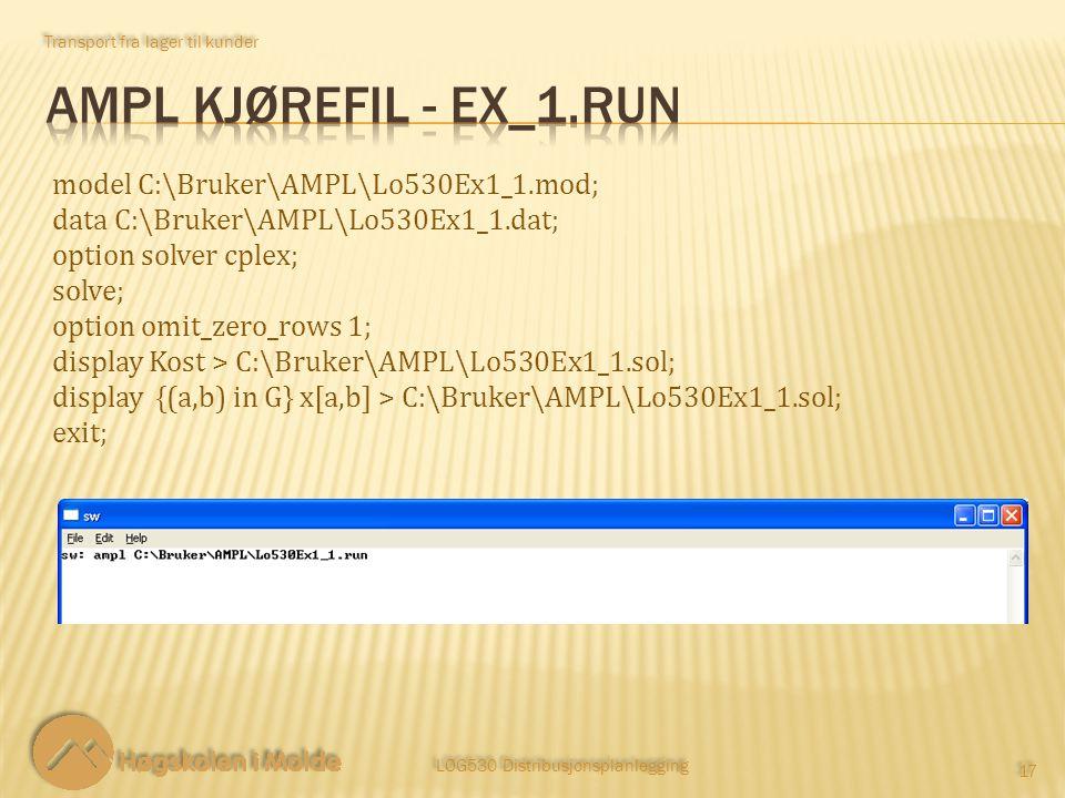 Transport fra lager til kunder LOG530 Distribusjonsplanlegging 17 model C:\Bruker\AMPL\Lo530Ex1_1.mod; data C:\Bruker\AMPL\Lo530Ex1_1.dat; option solv