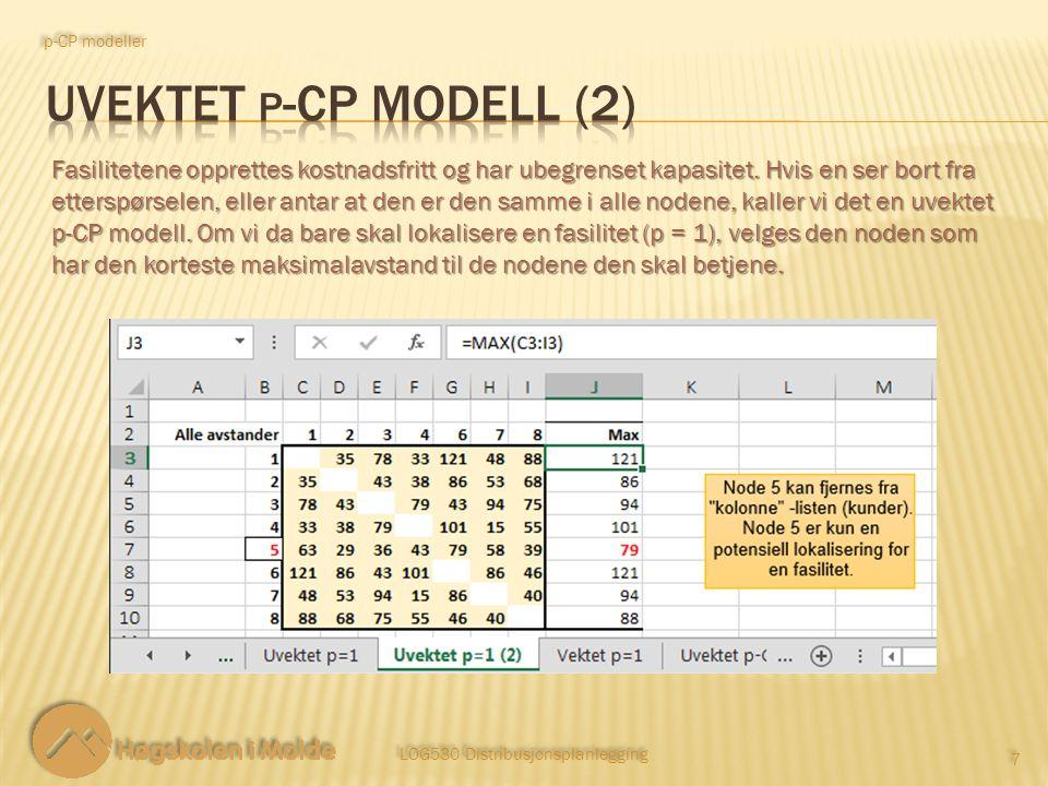 LOG530 Distribusjonsplanlegging 18 Målfunksjon trinn 2: p-CP modeller Minimer sum avstand mellom nodene med fasiliteter og kundene de betjener.