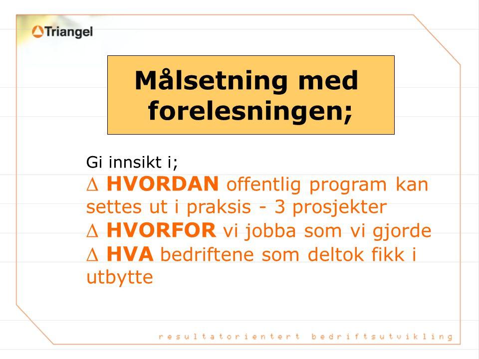 """""""FRA PROGRAM TIL PRAKSIS"""" VeRDI for SMBèr I Møre og Romsdal Ragna Brenne Bjerkeset, Bedriftsrådgiver Triangel AS"""