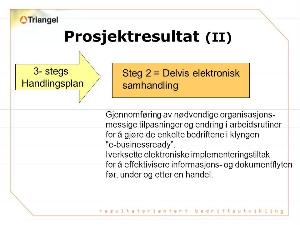 Prosjektresultat (juni 01) 3- stegs Handlingsplan Steg 1 = Effektivisering av manuelle funksjoner Gjennom avtale og konkrete manuelle tiltak mellom AI