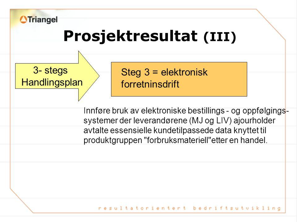 Prosjektresultat (II) 3- stegs Handlingsplan Gjennomføring av nødvendige organisasjons- messige tilpasninger og endring i arbeidsrutiner for å gjøre d