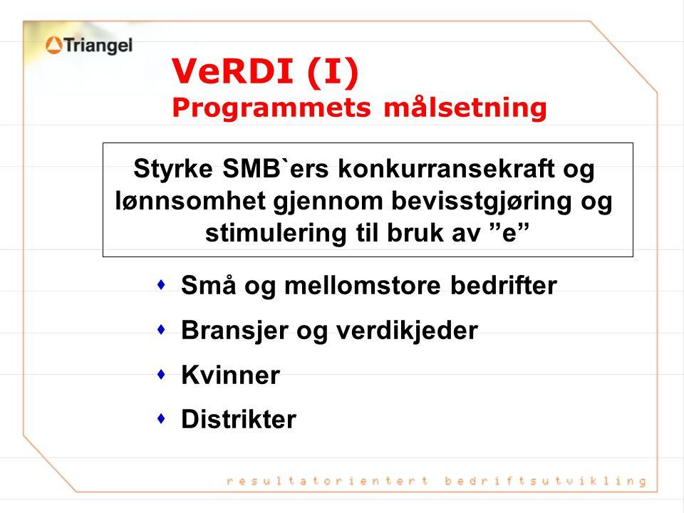 Styrke SMB`ers konkurransekraft og lønnsomhet gjennom bevisstgjøring og stimulering til bruk av e VeRDI (I) Programmets målsetning sSmå og mellomstore bedrifter sBransjer og verdikjeder sKvinner sDistrikter