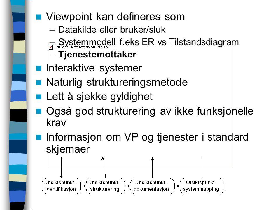 Viewpoint kan defineres som –Datakilde eller bruker/sluk –Systemmodell f.eks ER vs Tilstandsdiagram –Tjenestemottaker Interaktive systemer Naturlig struktureringsmetode Lett å sjekke gyldighet Også god strukturering av ikke funksjonelle krav Informasjon om VP og tjenester i standard skjemaer