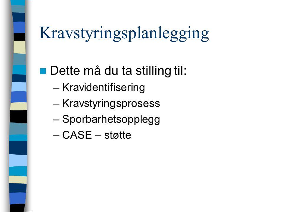 Kravstyringsplanlegging Dette må du ta stilling til: –Kravidentifisering –Kravstyringsprosess –Sporbarhetsopplegg –CASE – støtte