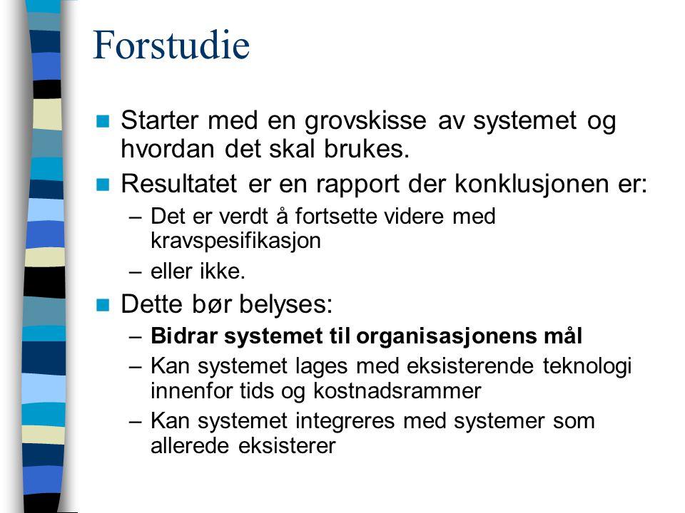 Forstudie Starter med en grovskisse av systemet og hvordan det skal brukes.