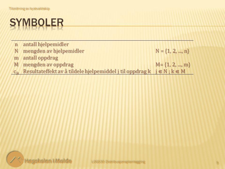 LOG530 Distribusjonsplanlegging 5 5 Tilordning av kystvaktskip n antall hjelpemidler N mengden av hjelpemidler N = {1, 2,..., n} m antall oppdrag M me
