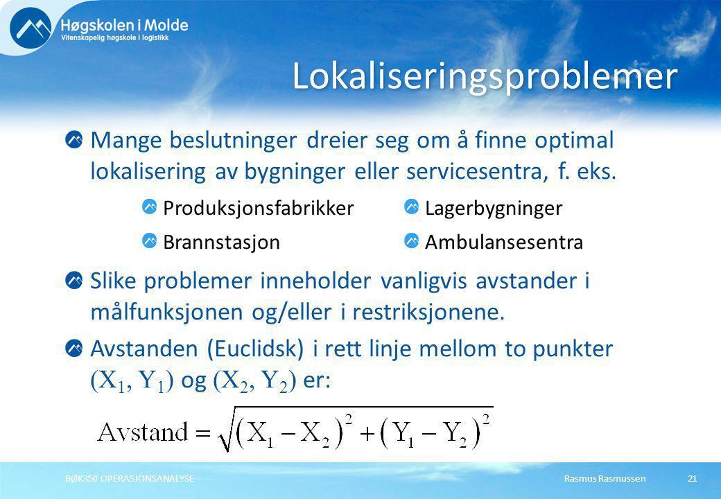 Rasmus RasmussenBØK350 OPERASJONSANALYSE21 Mange beslutninger dreier seg om å finne optimal lokalisering av bygninger eller servicesentra, f. eks. Sli