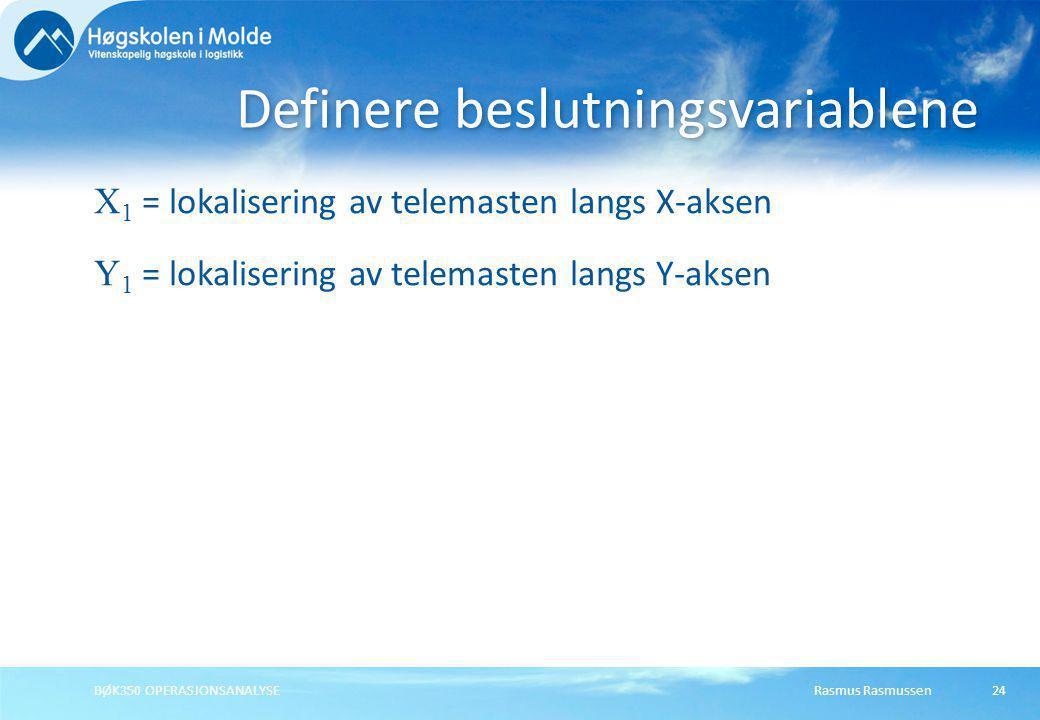 Rasmus RasmussenBØK350 OPERASJONSANALYSE24 X 1 = lokalisering av telemasten langs X-aksen Y 1 = lokalisering av telemasten langs Y-aksen Definere besl