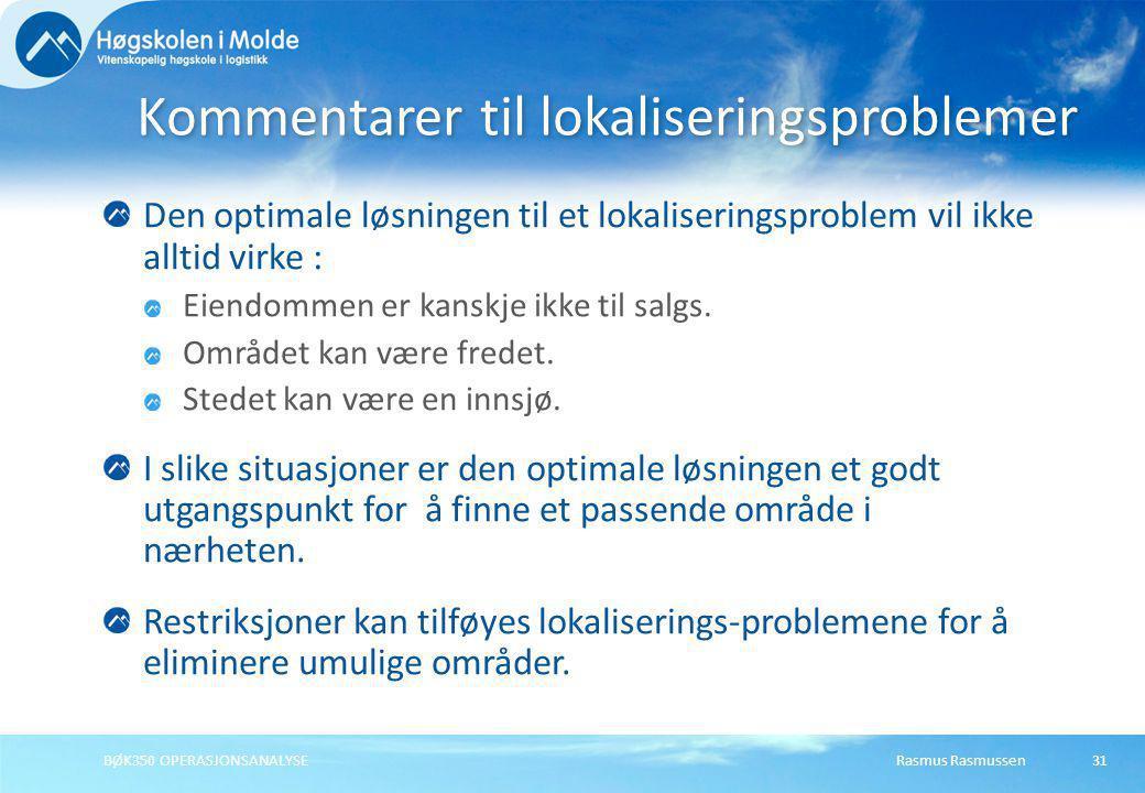 Rasmus RasmussenBØK350 OPERASJONSANALYSE31 Den optimale løsningen til et lokaliseringsproblem vil ikke alltid virke : Eiendommen er kanskje ikke til s
