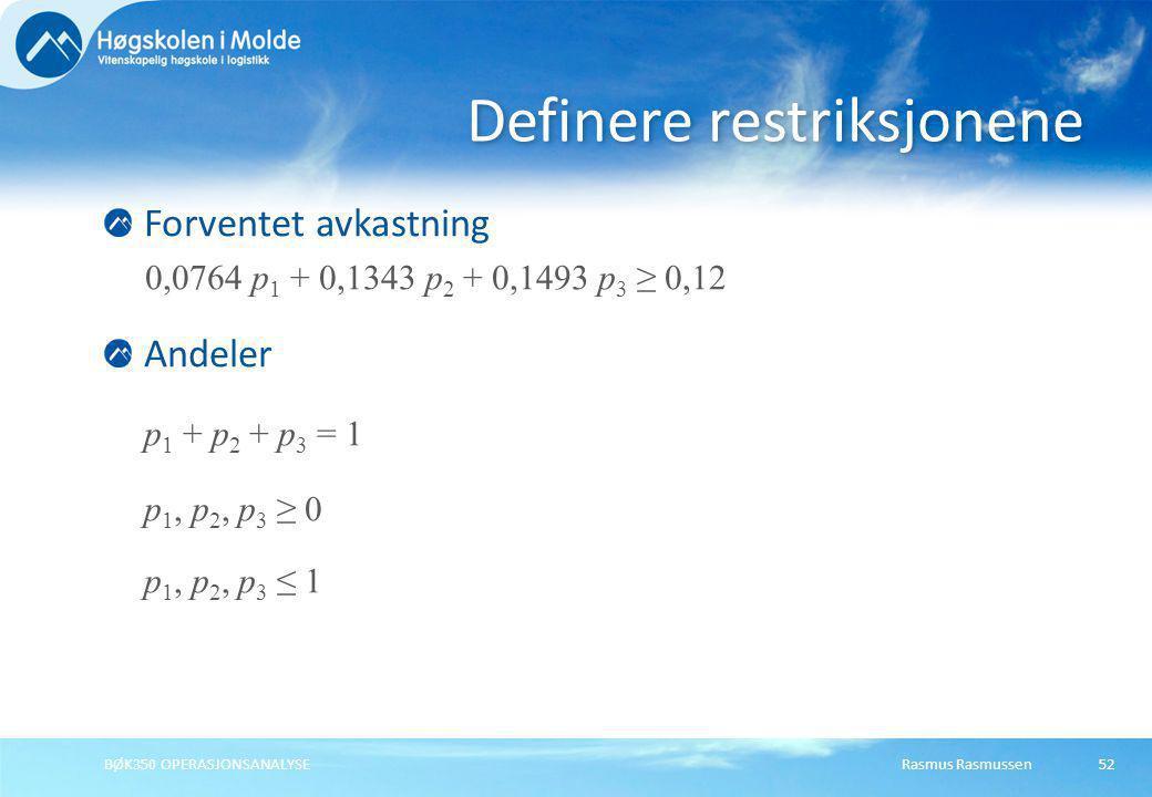 Rasmus RasmussenBØK350 OPERASJONSANALYSE52 Forventet avkastning 0,0764 p 1 + 0,1343 p 2 + 0,1493 p 3 ≥ 0,12 Andeler p 1 + p 2 + p 3 = 1 p 1, p 2, p 3