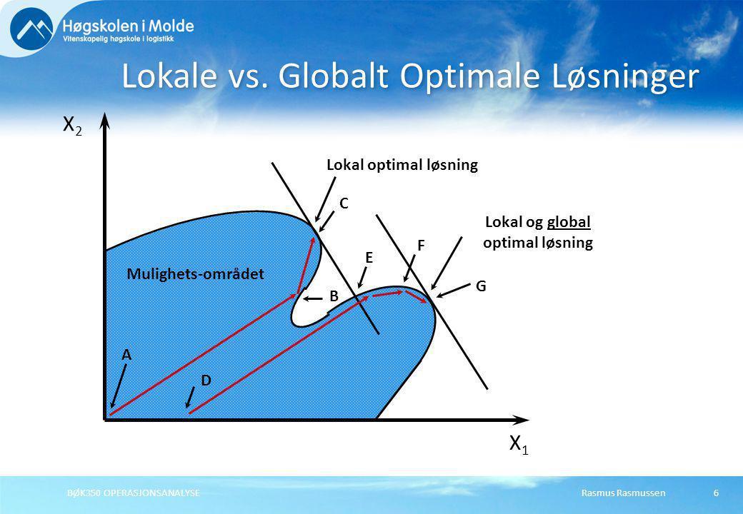Rasmus RasmussenBØK350 OPERASJONSANALYSE6 Lokale vs. Globalt Optimale Løsninger A C B Lokal optimal løsning Mulighets-området D E F G Lokal og global