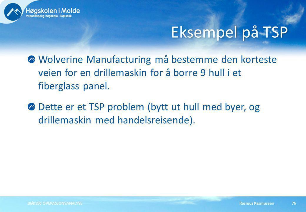 Rasmus RasmussenBØK350 OPERASJONSANALYSE76 Wolverine Manufacturing må bestemme den korteste veien for en drillemaskin for å borre 9 hull i et fibergla