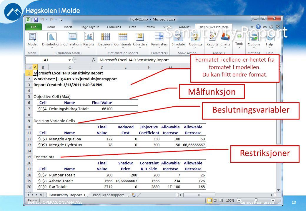 Rasmus RasmussenBØK350 OPERASJONSANALYSE13 Sensitivity Report Formatet i cellene er hentet fra formatet i modellen. Du kan fritt endre format. Beslutn