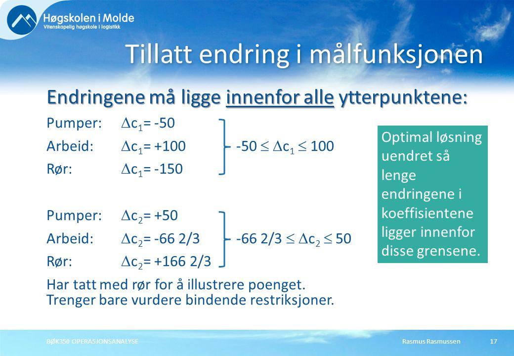 Rasmus RasmussenBØK350 OPERASJONSANALYSE17 Tillatt endring i målfunksjonen Endringene må ligge innenfor alleytterpunktene: Endringene må ligge innenfo
