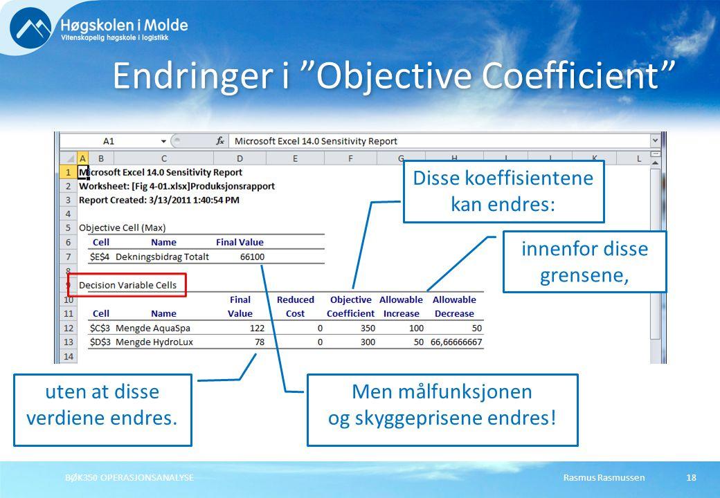 """Rasmus RasmussenBØK350 OPERASJONSANALYSE18 Endringer i """"Objective Coefficient"""" Disse koeffisientene kan endres: innenfor disse grensene, uten at disse"""
