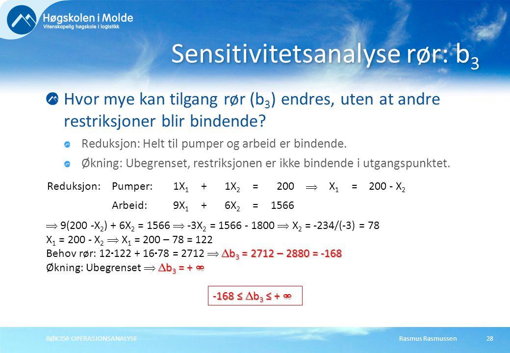 Rasmus RasmussenBØK350 OPERASJONSANALYSE28 Hvor mye kan tilgang rør (b 3 ) endres, uten at andre restriksjoner blir bindende? Reduksjon: Helt til pump