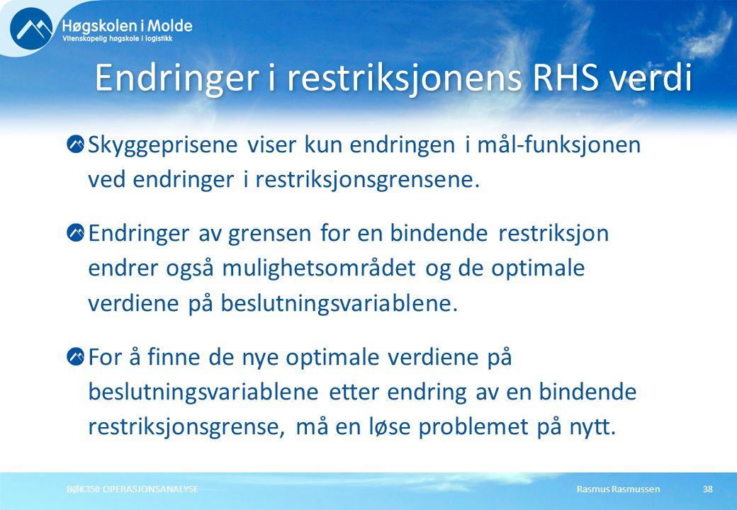 Rasmus RasmussenBØK350 OPERASJONSANALYSE38 Skyggeprisene viser kun endringen i mål-funksjonen ved endringer i restriksjonsgrensene. Endringer av grens