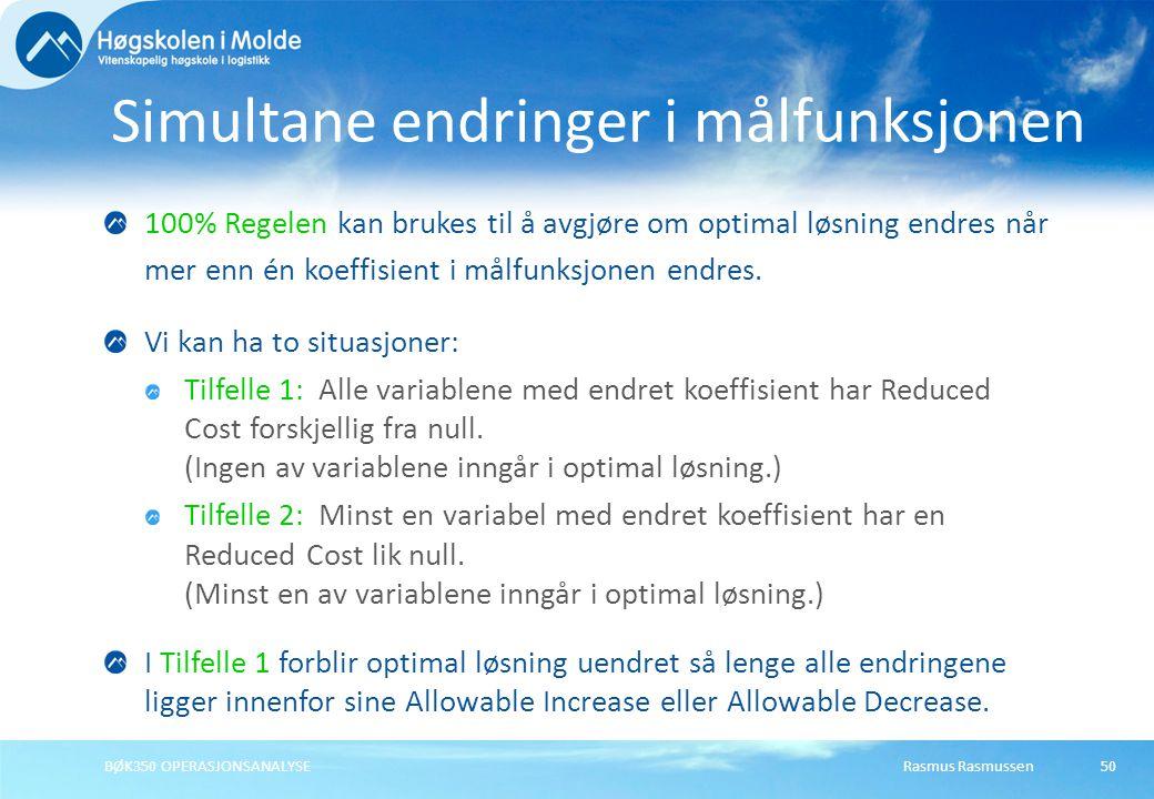Rasmus RasmussenBØK350 OPERASJONSANALYSE50 100% Regelen kan brukes til å avgjøre om optimal løsning endres når mer enn én koeffisient i målfunksjonen