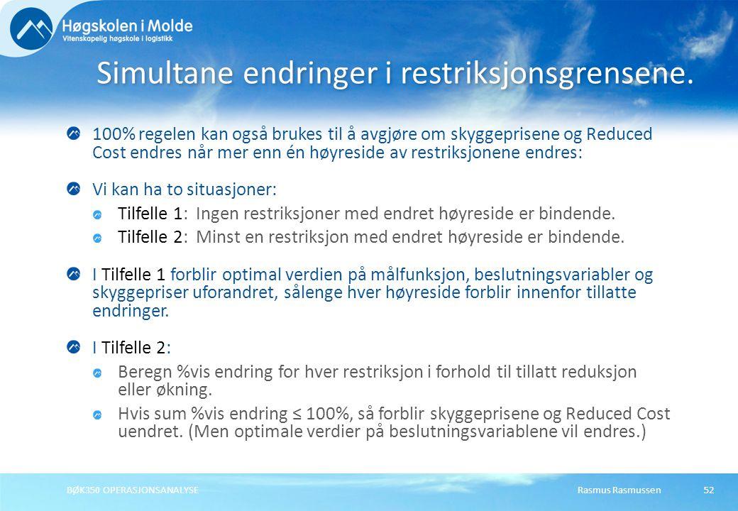 Rasmus RasmussenBØK350 OPERASJONSANALYSE52 100% regelen kan også brukes til å avgjøre om skyggeprisene og Reduced Cost endres når mer enn én høyreside