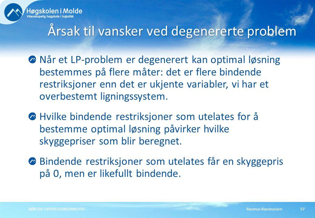 Rasmus RasmussenBØK350 OPERASJONSANALYSE57 Når et LP-problem er degenerert kan optimal løsning bestemmes på flere måter: det er flere bindende restrik