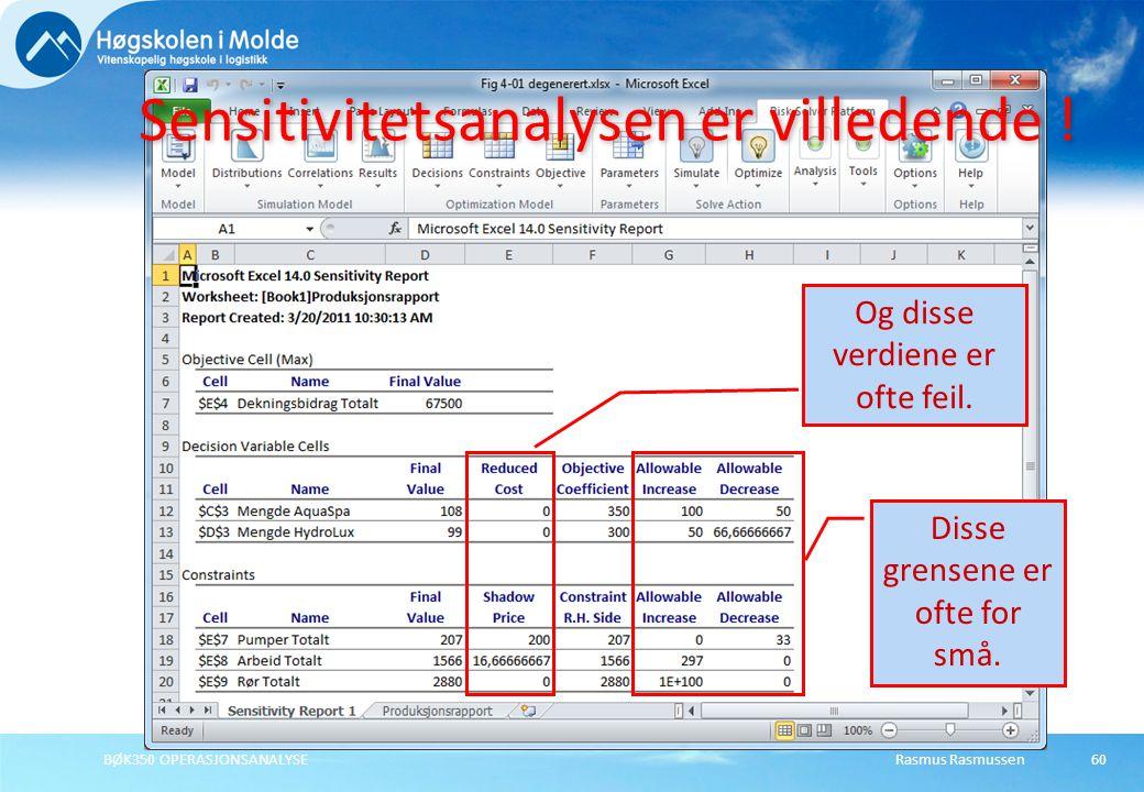 Rasmus RasmussenBØK350 OPERASJONSANALYSE60 Sensitivitetsanalysen er villedende ! Og disse verdiene er ofte feil. Disse grensene er ofte for små.