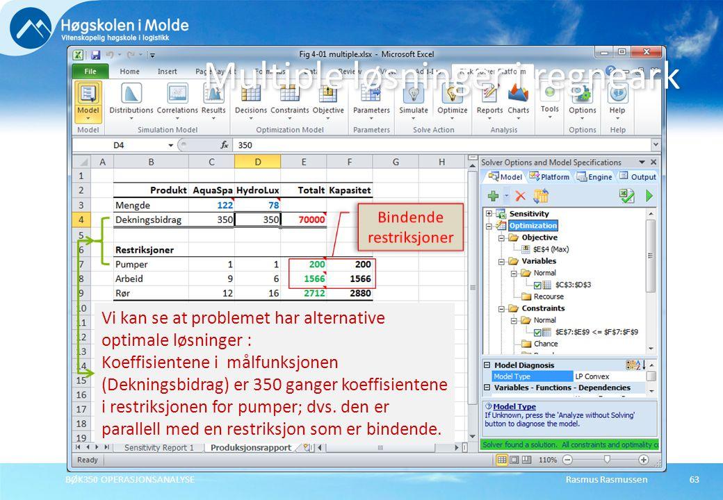 Rasmus RasmussenBØK350 OPERASJONSANALYSE63 Multiple løsninger i regneark Vi kan se at problemet har alternative optimale løsninger : Koeffisientene i