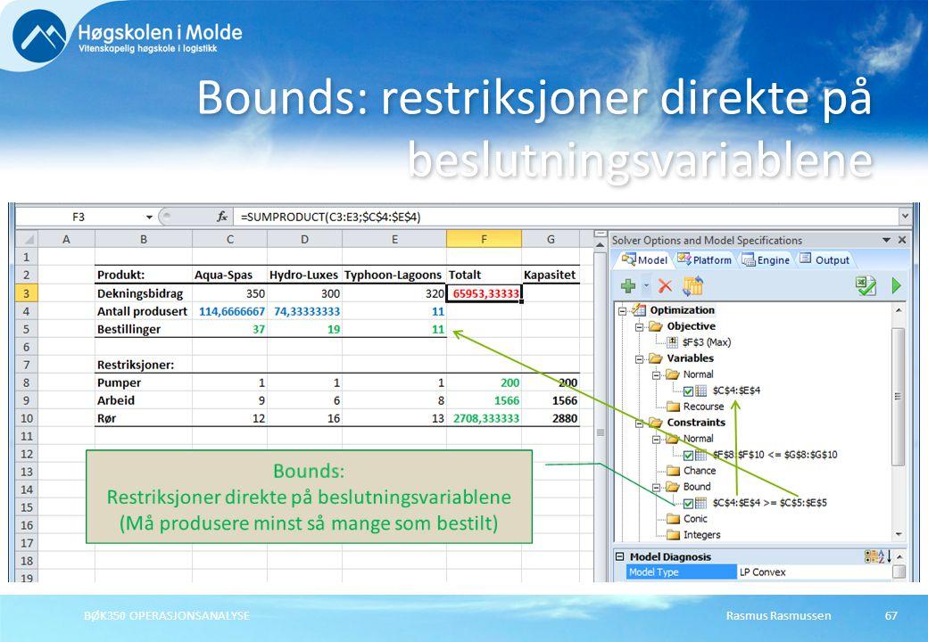 Rasmus RasmussenBØK350 OPERASJONSANALYSE67 Bounds: restriksjoner direkte på beslutningsvariablene Bounds: Restriksjoner direkte på beslutningsvariable