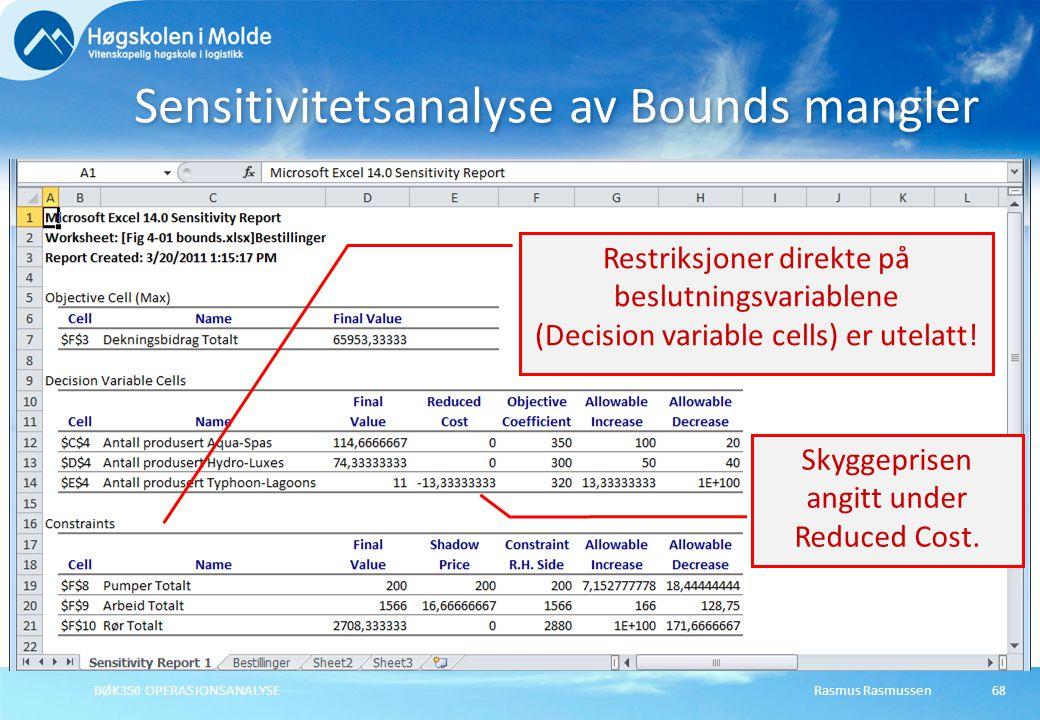 Rasmus RasmussenBØK350 OPERASJONSANALYSE68 Sensitivitetsanalyse av Bounds mangler Restriksjoner direkte på beslutningsvariablene (Decision variable ce