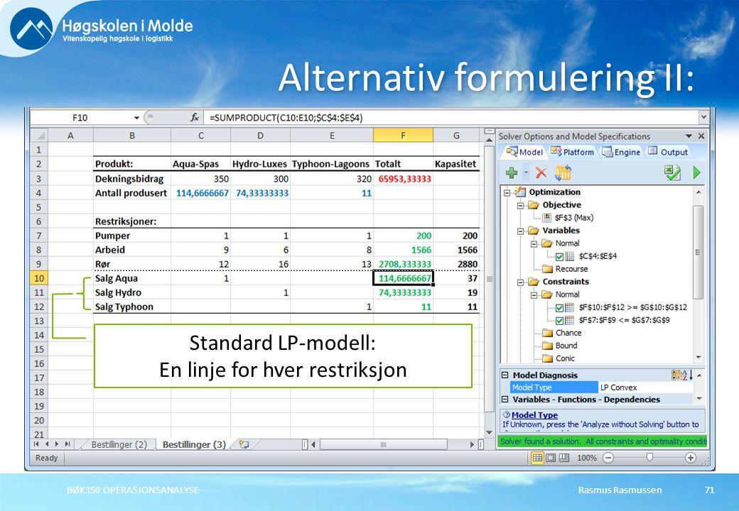Rasmus RasmussenBØK350 OPERASJONSANALYSE71 Alternativ formulering II: Standard LP-modell: En linje for hver restriksjon