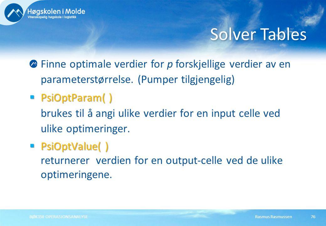 Rasmus RasmussenBØK350 OPERASJONSANALYSE76 Finne optimale verdier for p forskjellige verdier av en parameterstørrelse. (Pumper tilgjengelig)  PsiOptP
