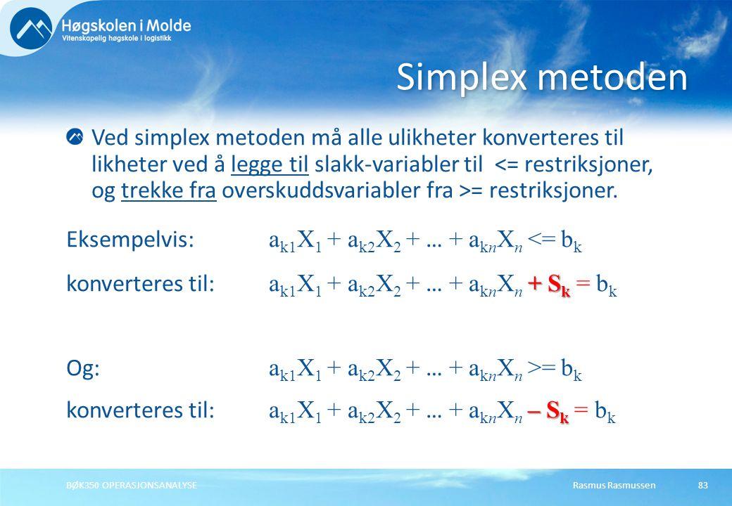Rasmus RasmussenBØK350 OPERASJONSANALYSE83 Ved simplex metoden må alle ulikheter konverteres til likheter ved å legge til slakk-variabler til = restri